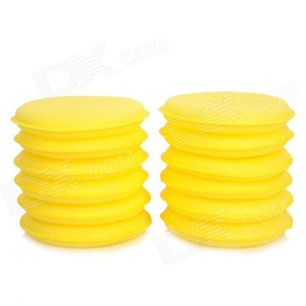 Car Washable Wax Sponge Polishing Pad Cleaner - Yellow (12PCS)