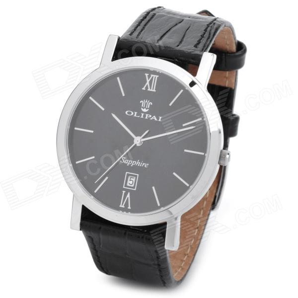 OLIPAI JT9031-S-B-B Men's Genuine Leather Band Quartz Wrist Watch w/ Calendar - Black + Silver yazole brand lovers watch women men watches 2017 female male clock leather men s wrist watch girls quartz watch erkek kol saati