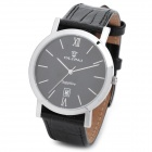 OLIPAI JT9031-S-B-B Men's Genuine Leather Band Quartz Wrist Watch w/ Calendar - Black + Silver