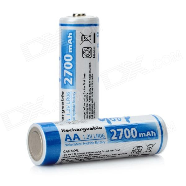 GD-AA-2B-6 1.2V 2700mAh Ni-MH Rechargeable AA Batteries - (Pair) 12v 3 0ah 3000mah ni mh battery for ryobi b 1230h b 1222h b 1220f2 b 1203f2 1400652 1400652b 1400670 cordless