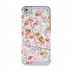 Newtons Protective Flower Pattern Back Case Cover for Iphone 5 - White + Green + Orange