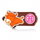 Chinese Zodiac Kuh Stil USB 2.0 Flash Drive - Brown + Orange (4GB)