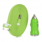 30-Pin Male to USB Male Data Charging Cable + Car Charger Set for iPhone / iPad / iPod - Green