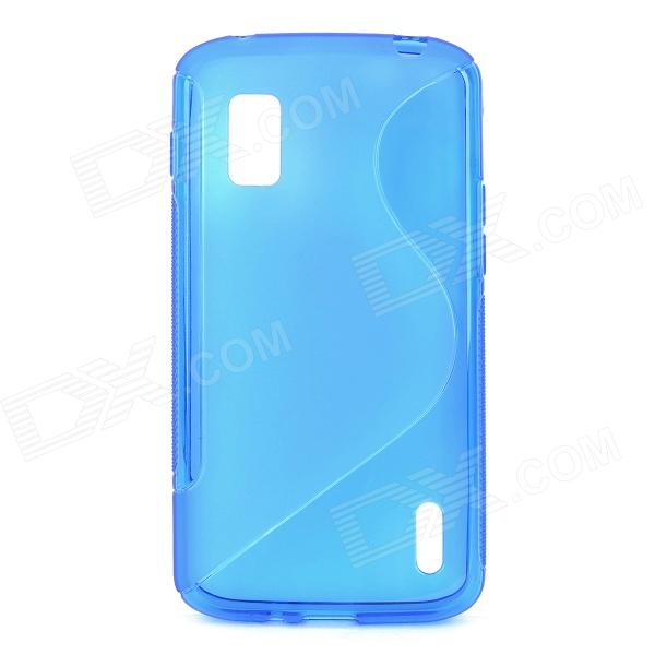S Style Protective TPU Back Case for LG Nexus 4 E960 - Translucent Blue s pattern protective plastic case for lg nexus 5 e980 translucent grey