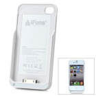 "iFans External ""1800mAh"" Battery PU + ABS Back Case for iPhone 4 / 4S - White"