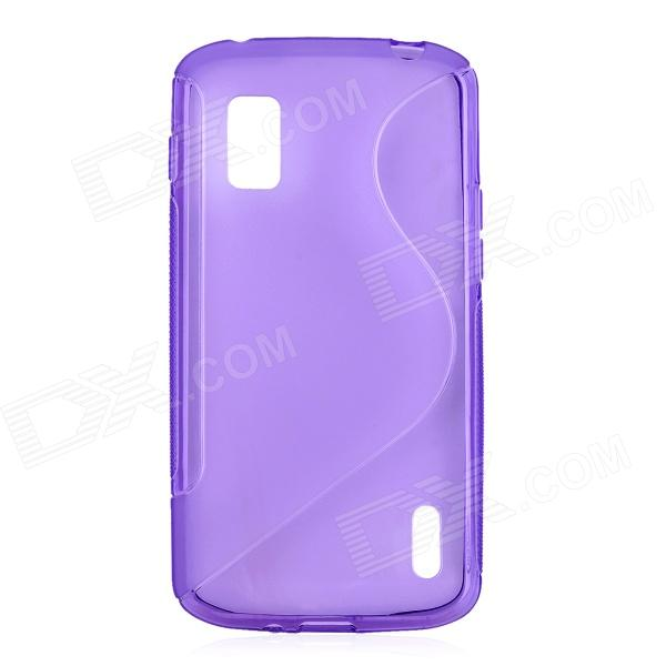 S Style Protective TPU Back Case for LG Nexus 4 E960 - Translucent Purple s pattern protective plastic case for lg nexus 5 e980 translucent grey