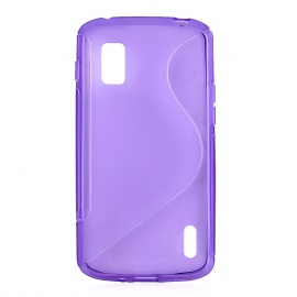 """S"" Style Protective TPU Back Case for LG Nexus 4 E960 - Translucent Purple"