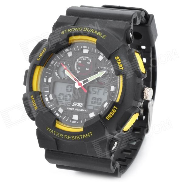 SKMEI SK0909S Sports Rubber Band Analog + Digital Water Resistant Wrist Watch - Black + Yellow