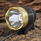 UltraFire Cree XM-L T6 870lm 3-Mode White Bicycle Lamp - Black + Golden (4 x 18650)