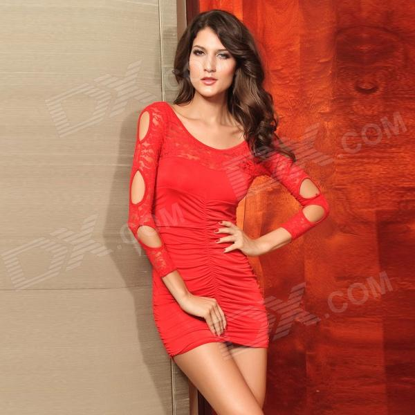 Peony Pattern Sexy Tight Long Sleeve Round Collar Hollow-Out Lace Short Dress - Red (Size M)