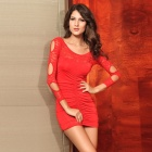Peony Pattern Sexy Tight Long Sleeve Round Neck Hollow-Out Lace Short Dress - Red (Size M)