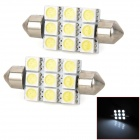 Festoon 39mm 1.62W 180lm 9-SMD 5050 LED White Light Car Reading Lamp (12V / 2 PCS)