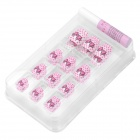 24-in-1 Empate Butterfly Pattern Short Set uñas Fake - Rosa