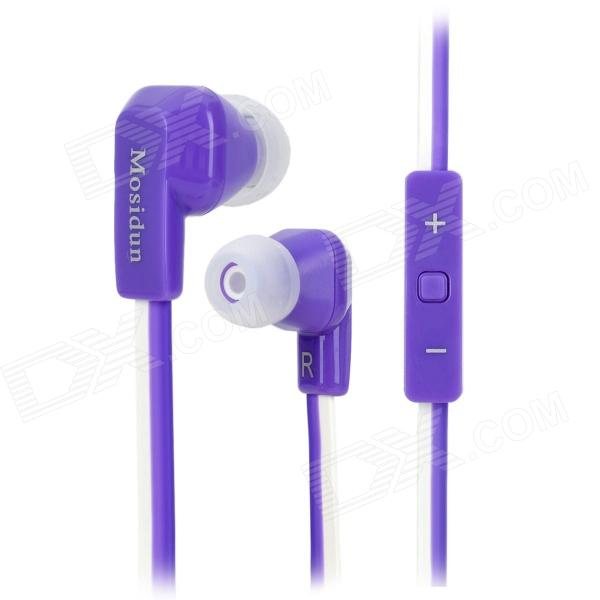 Mosidun MSD-610 In-Ear Flat Cable Earphones with Microphone - Purple + White (3.5mm Plug / 110cm)