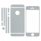 ISME Protective Front + Back + Frame Carbon Fiber Skin Stickers Set for iPhone 5 - Silver