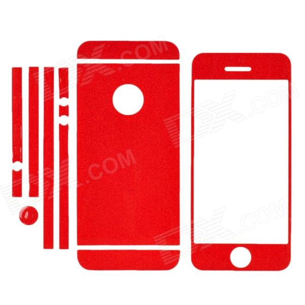 ISME Protective Glitter Front + Back + Frame Skin Stickers Set for Iphone 5 - Red
