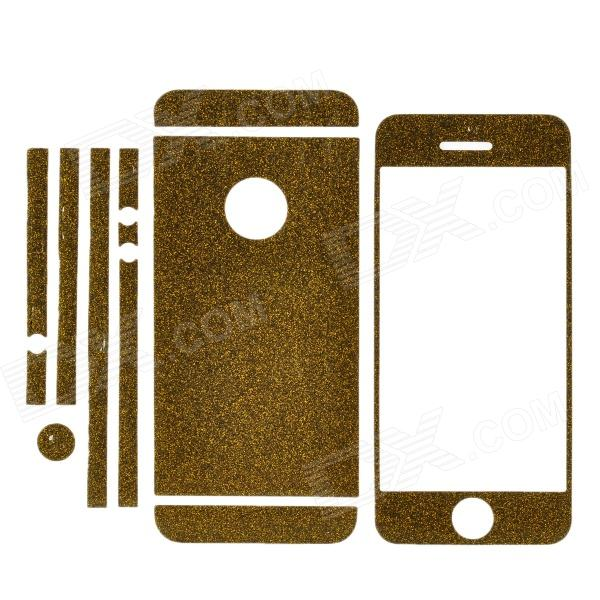 Protective Glitter Front + Back + Frame Skin Sticker for Iphone 5 - Brown Gold