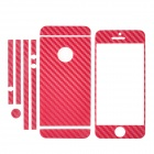 Protective Front + Back + Frame Carbon Fiber Skin Stickers Set for Iphone 5 - Wine Red