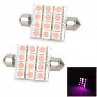 Festoon 41mm 2.16W 240lm 12-SMD 5050 LED Pink Light Car Reading Lamp - Silver + Pink (12V / 2 PCS)