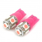 T10 / T13 1.5W 30lm 5-5050 SMD LED Pink Light Motorcycle Indicator / Instrument Lamp (12V / 2 PCS)