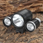 YP-3008A 3 x Cree XM-L T6 800~1000lm 3-Mode White Bicycle Lamp - Black + Silver (4 x 18650)