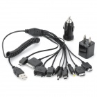 USB AC Charger + Car Charger + Flexible 10-in-1 Charging Cable for Samsung / Nokia / PSP + More