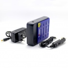 Soshine 4-Slot Li-ion 18650 Battery Smart Fast Charger w/ 2-Round-Pin Plug Adapter / Car Charger