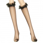 Super Sexy Mesh Tights Grid Nylon + Lace Socks for Christmas - Black (Pair)