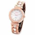EGNIAN EG-0911 Titanium Alloy Strass-Band Quarz Analog Wasserdicht Armbanduhr - Rose Gold