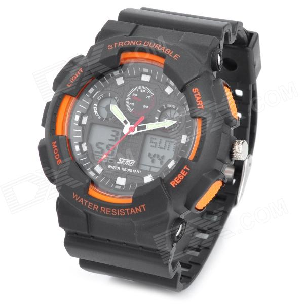 SKMEI SK0909S Sports Rubber Band Analog + Digital Water Resistant Wrist Watch - Black + Orange mini usb 2 0 tf nano micro sd sdhc sdxc memory card reader writer usb flash drive memory card readers