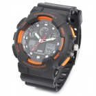 SKMEI SK0909S Sports Rubber Band Analog + Digital Water Resistant Armbanduhr - Schwarz + Orange