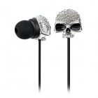 KS-S003 Stilvolle Skull Head In-Ear Earphones - Black + Silver (3,5 mm Klinkenstecker / 128cm-Kabel)