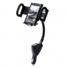 Multi-functional Car Swivel Mount Holder w/ Dual USB Charger (55mm~120mm) - Black