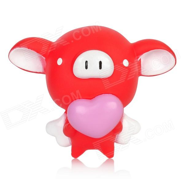 Cute Cartoon Flying Pig Holding Love Heart Doll Toy W Suction Cup