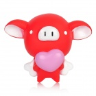 Cute Cartoon Flying Pig Holding Love Heart Doll Toy w/ Suction Cup - Red + White