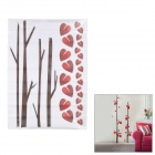 JM8249 Exquisite Red Leaves Pattern dekorative Wand-Sticker - Red + White + Brown (50 x 70cm)