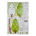 JM7155 Exquisite Green Tree Photo Frame Pattern Decorative Wall Sticker - Green + White (90 x 60cm)