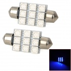 Festoon 39mm 1.62W 180lm 9-5050 SMD LED Blue Light Car Reading / Interior / Door Lamp (12V / 2 PCS)