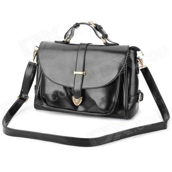 Retro Lady's PU Hand / One Shoulder Bag w/ Strap - Black sailor moon the same type bag fashion small pure and fresh and candy color one shoulder inclined shoulder bag