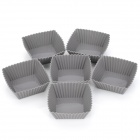 SP99021 Square Silicone DIY Molds for Cake / Dessert / Chocolate / Pudding + More - Grey (6 PCS)