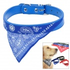042 Adjustable PU Leather Collar Polyester Triangle Bib for Pet Dog Cat - Blue