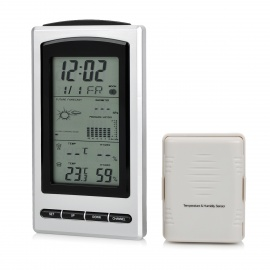 """4.9"""" LCD Wireless Weather Station w/ Outdoor Temperature & Humidity Sensor - Silver + Black"""