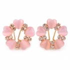 MaDouGongZhu R115 Lady's Heart Shape into Flower Style Ear Studs - Pink + Golden (Pair)