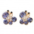 MaDouGongZhu R085 Butterfly Style Lady&#039;s Ear Studs - Purple (Pair)