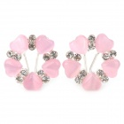 MaDouGongZhu R115 Lady's Heart Shape into Flower Style Ear Studs - Pink + Silver (Pair)