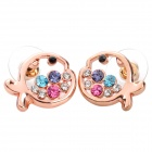MaDouGongZhu R059-4 Cute Fish Style Lady&#039;s Ear Studs - Multicolored