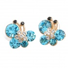 MaDouGongZhu R085 Butterfly Style Lady&#039;s Ear Studs - Blue (Pair)