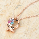 MaDouGongZhu K136 Cute Fish Style Pendant Necklace - Golden