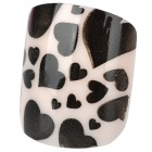 French Style 24-in-1 Heart Pattern Short Artificial Nail Set - Black