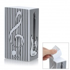ZhiJiang BXZZ Distorted Music Note &amp; Guitar Design Note Pad Memo Block - Black + White (1280-Pages)